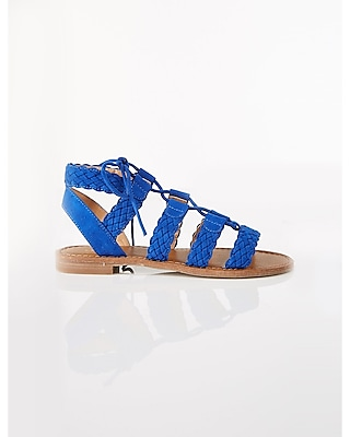 Express Womens Braided Lace-Up Sandal Blue 9