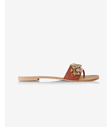 gem embellished slide sandal
