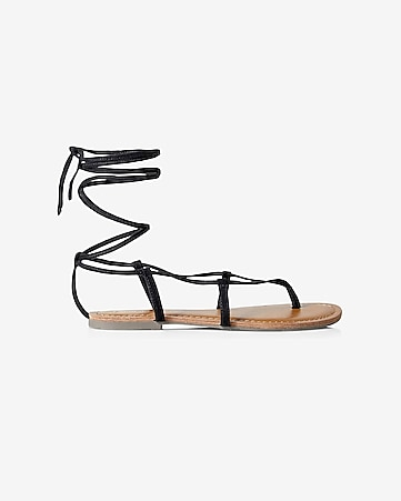 thin strap lace-up gladiator sandals