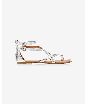 braided metallic low thong sandal