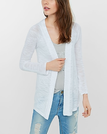 marled lightweight rolled sleeve cover-up