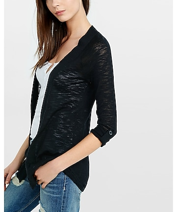 lightweight rolled sleeve cover-up