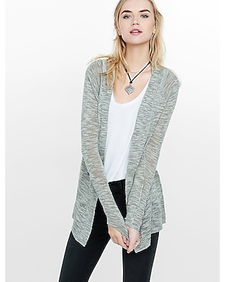 Express Womens Lightweight Marled Rolled Sleeve Cover-Up Gray X Small