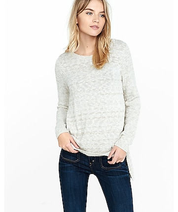 crew neck slub knit high slit sweater