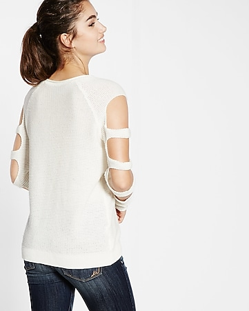 ladder shoulder knit boxy sweater