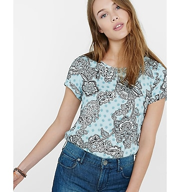 medallion floral crew neck rolled sleeve blouse