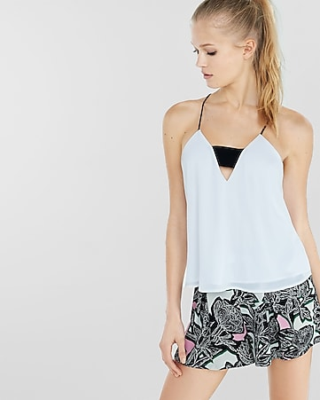 zip back short bandeau cami