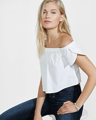 Express Womens Express Womens Stretch Cotton Off The Shoulder Cropped Blouse White Medium