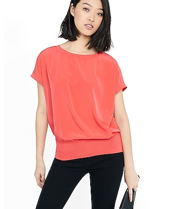 capped dolman sleeve blouson top