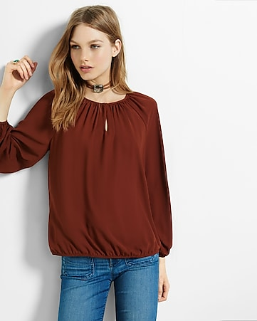 banded bottom notch neck blouse
