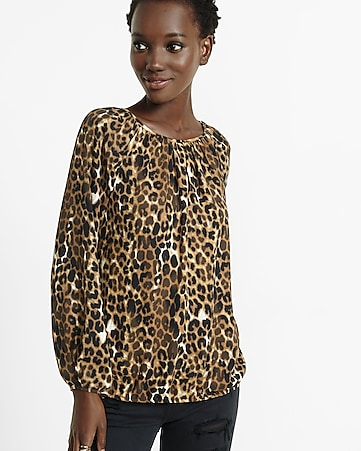 banded bottom notch neck leopard print blouse
