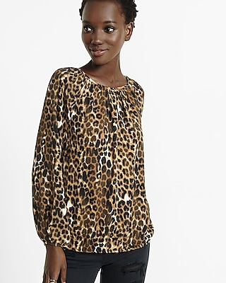 Banded bottom notch neck leopard print blouse express for Banded bottom shirts canada