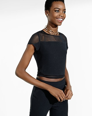 Express Womens Black Mesh Inset Cropped Tee Black Small 97117443