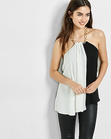 asyemmetrical color blocked chain neck halter
