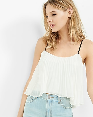 pleated cropped cami