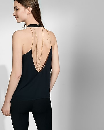 high neck chain strap back tank