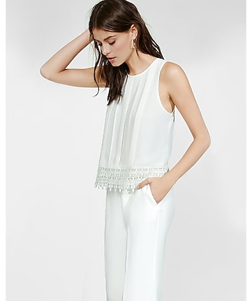 pleated crocheted lace hem tank