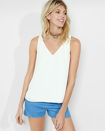 deep v-neck strappy back tank