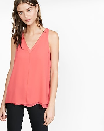 double layer deep v-neck tank