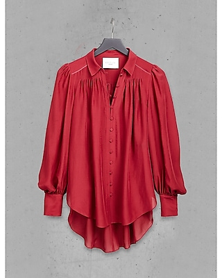 EXPRESS Women's Tops Red Express Edition Silk Chiffon Poet Blouse