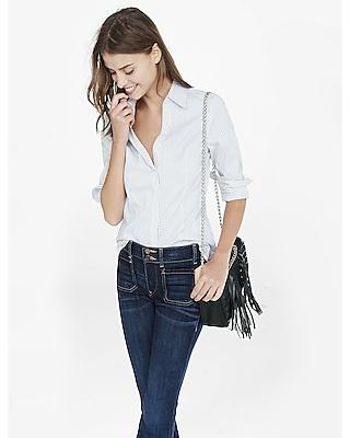 EXPRESS Women's Shirts Double Pinstripe Long Sleeve Essential Shirt