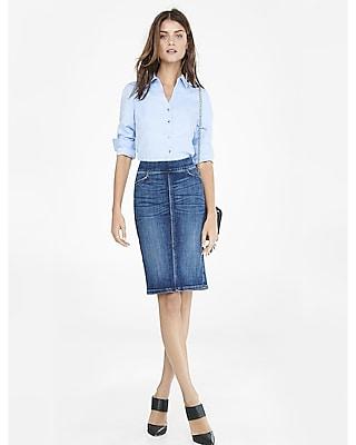 EXPRESS Women's Shirts Blue Twill Long Sleeve Essential Shirt