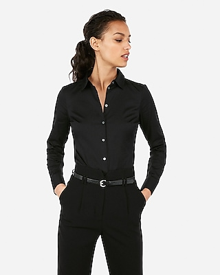 Express Womens Fitted Long Sleeve Essential Shirt Bodysuit