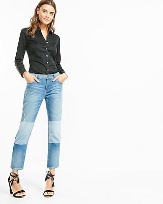Express Womens Fitted Long Sleeve Essential Shirt Bodysuit Black Medium