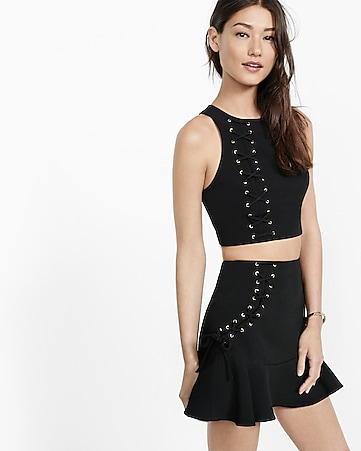asymmetrical lace-up cropped top