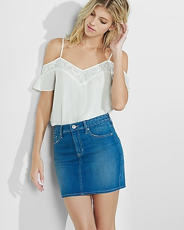 cold shoulder lace trim cami