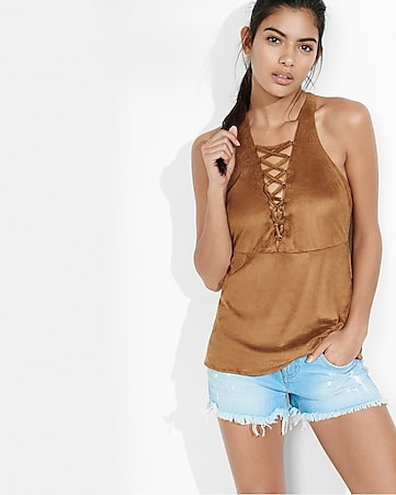 faux suede lace-up t-back tank