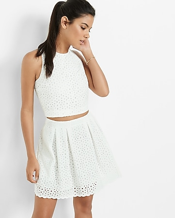 ivory floral eyelet cropped tank
