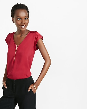 mixed texture zip front blouse