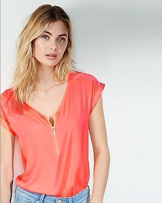 Express Womens Mixed Texture Zip Front Blouse