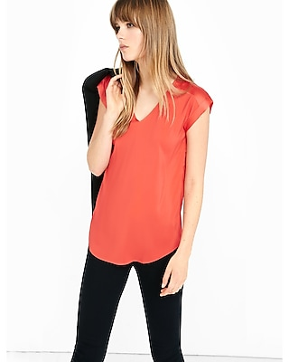 Express Womens Silky V-Neck Rolled Sleeve Blouse Red X Small