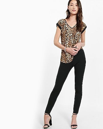 leopard print rolled sleeve blouse