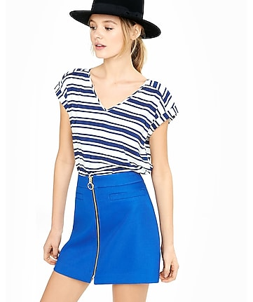 bar stripe rolled sleeve blouse
