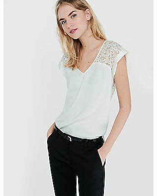 EXPRESS Women's Tops Lace Yoke And Back Silky Rolled Sleeve Blouse