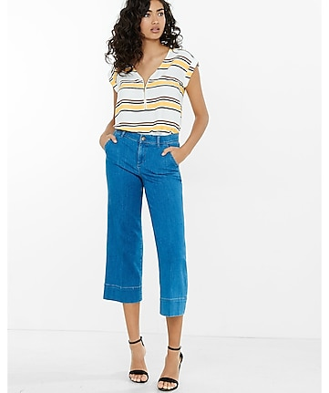 yellow stripe zip front rolled sleeve blouse