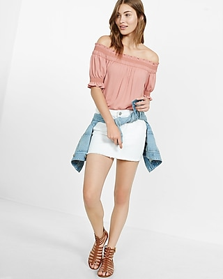 Express Womens Embroidered Off The Shoulder Blouse Pink X Small