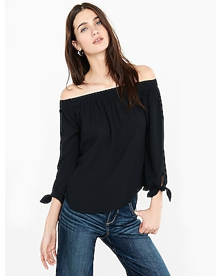 Express Womens Off The Shoulder Tie Sleeve Blouse