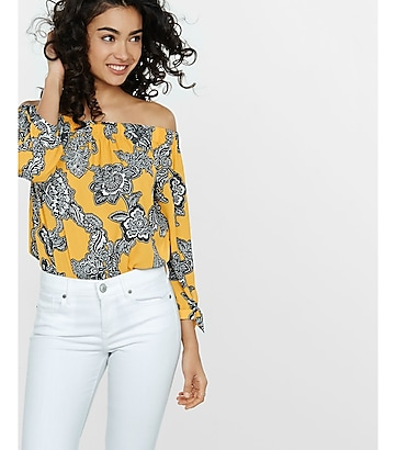 chain floral off the shoulder tie sleeve blouse