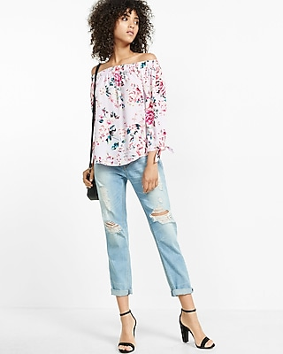 Express Womens Express Womens Rose Floral Off The Shoulder Tie Sleeve Blouse Multi Small