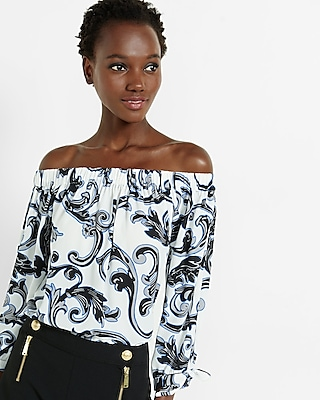 Express Womens Scroll Print Off The Shoulder Tie Sleeve Blouse