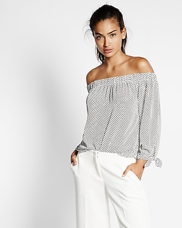 off the shoulder tie sleeve dot print blouse