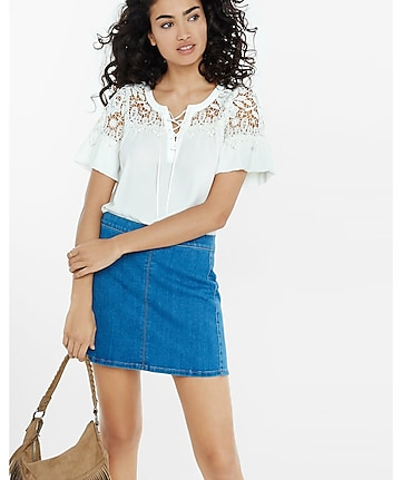 lace-up crochet yoke blouse