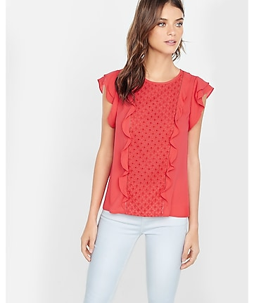 eyelet and ruffle front blouse