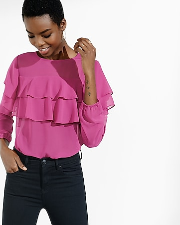 berry long sleeve ruffle front blouse