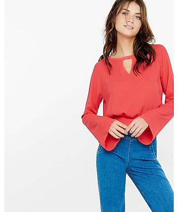 bell sleeve tie back blouse