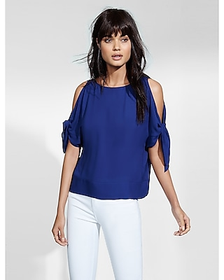 EXPRESS Women's Tops Cold Shoulder Tie Sleeve Blouse Blue Medium